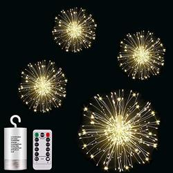 LIYAMILLAI 4 Pack 120 Firework Lights Led Copper,Battery Operated Starburst Light with Remote,8 Modes String Fairy Lights Waterproof,Decorative Hanging Lights for Christmas, Home, Indoor Outdoor.