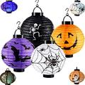 Halloween Paper Lanterns Jack-o'-Lantern Spider Bat Skeleton Lantern with Led Light,for Halloween Party Decor Lanterns Halloween Pumpkin Lantern(Batteries not Included) (Multi-Colored)
