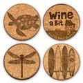 Premium Quality Laser Art Engraved Absorbent Cork Drink Coasters by GrafixMat, Set of 4, Natural Cork, Dual Layer Won't Chip or Break, Cushion Feet, Color Image & Story on Back, Customer Favorite 1