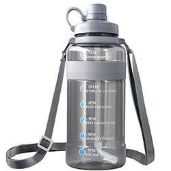 2.8L/ 100 oz Water Bottle Leak Proof, Reusable Water Bottle BPA Free Large Capacity Water Bottle with Straw Daily Water Intake Bottle Tracker Hourly Big Water Bottle Hydrate Drinking More Water Bottle