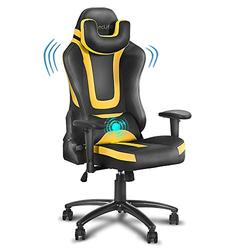 eclife PC Gaming Chair Ergonomic Racing Task Chair PU Leather Computer Desk Chair Recliner W/Massage Lumbar Support Footrest Headrest Armrest Rolling Swivel Office Chair (Yellow+Without Footrest)