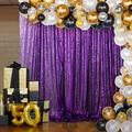 Sequin Backdrop Curtain Purple 7FTx7FT Backdrops for Photography Sequin Curtain Shower Curtain Wedding Party Background Fabric Backdrop Glitter Backgrounds Great Gatsby Party Decor (7FTx7FT, Purple)