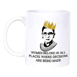 Notorious RBG 1933-2020 - Women belong in all places where decisions are being made, The Life and Times of Ruth Bader Ginsburg, You are a legend in life, Vote for Ruth Ceramic coffee mug (15oz)