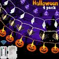 Set of 4 Halloween Decorations Lights Halloween Lights String Battery Operated 8 Mode Waterproof orange Pumpkin Spider Ghost Bat Lights with Each 20 LED for Outdoor Indoor Halloween Decorations, Party