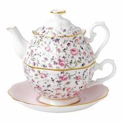 Royal Albert Rose Confetti Bone China Tea for One Set Bone China in Green/Indigo/Pink, Size 9.0 H x 6.75 W x 6.75 D in | Wayfair 40002399