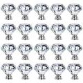20Pcs Clear Glass Knobs 30mm Crystal Cabinet Drawer Pulls Diamond Door Wardrobe Handle Heavy Duty for Home Decor Retro Style