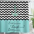 LIVILAN Anchor Shower Curtain, Chevron Zigzag Live Laugh Love Shower Curtain, Sailing Nautical Shower Curtain Fabric, Striped Shower Curtain with Hooks, Teal Black and White Shower Curtain, 72X72