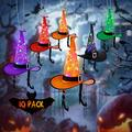YUNLIGHTS 10pcs Halloween String Lights with Witch Hats String Lights 43FT, Witch Hats Lights Hanging RGB Lights with Auto Timer & 8 Lighting Modes, IP44 Waterproof for Halloween Decorations