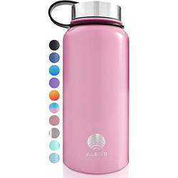 ALBOR Insulated Water Bottle with Straw - 32 Oz Water Bottle Stainless Steel Water Bottle with Straw Metal Water Bottle with Straw Water Flask Water Bottle Insulated Water Bottle Pink