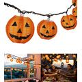 Halloween Lantern String Lights, Jack O Lanterns Pumpkin String Lights Plug in, TIGOMOOV 10 Orange Halloween Lanterns String Lights 9.83FT Connectable Indoor/Outdoor for Halloween Decorations