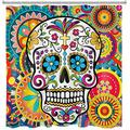 ECOTOB Day of The Dead Sugar Skull Shower Curtain Decor, Flowers Skull Skeleton Halloween All Saints Day Shower Curtains 72X79 inch Polyester Fabric Bathroom Decorations Bath Curtains Hooks Included