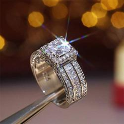 925 Sterling Silver Shiny Full Diamond Gemstone Ring Cubic Zirconia Rings CZ Diamond Multi Row Ring Eternity Engagement Wedding Band Ring for Women (US Code 10)