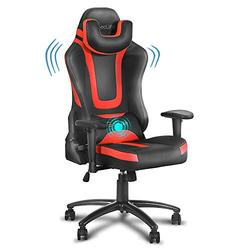 eclife PC Gaming Chair Ergonomic Racing Task Chair PU Leather Computer Desk Chair Recliner W/Massage Lumbar Support Footrest Headrest Armrest Rolling Swivel Office Chair (Red+Without Footrest)