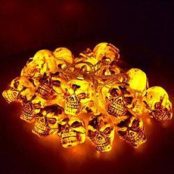Halloween Skull LED Lights, Indoor or Outdoor Holiday Decoration String Lights, 10 Feet 20 Pack Skull Lights (Brown)