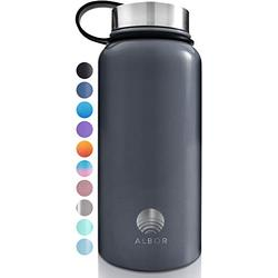 ALBOR Insulated Water Bottle with Straw - 32 Oz Water Bottle Stainless Steel Water Bottle with Straw Metal Water Bottle with Straw Water Flask Water Bottle Insulated Water Bottle Graphite