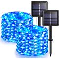 [2 Pack] Solar Fairy Lights, 200 LED Outdoor Solar String Lights Garden Silver Wire Decorative Lights 66Ft Waterproof Indoor Outdoor Lighting for Garden, Patio, Yard, Christmas(Blue)
