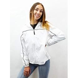 White Windbreaker Jacket Women | Wind Breakers Womans Jacket | Girls Windbreaker With Drawstring Hood | Rain Breaker For Women (White, Large) - eb79