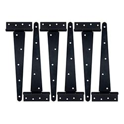 HLMOptimo Heavy Duty T Hinge Tee Hinge T Strap Hinge Shed Hinge Gate Hinge Barn Hinge Fence Hinge Door Hinge Wrought Rustproof All Size Black w/Screws (6 pcs, 12 inch)