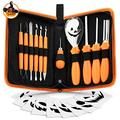 Pumpkin Carving Kit Halloween Jack-O-Lanterns Professional Carving Tools 12 Piece Pumpkin Carving Set Stainless Steel Lengthening and Thickening Carving Knife, Cuts, Scoops, Scrapers, Saws, Loops