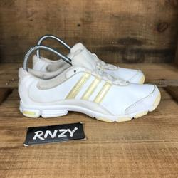 Adidas Shoes | Adidas White Cheer Lace Up Running Sport Shoes | Color: White/Yellow | Size: 7.5