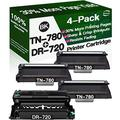 Henwi Compatible Toner Cartridges & Drum Unit Replacement for Brother DR720 DR-720 TN780 TN-780 Toners use with Brother HL-5440 HL-5450DN MFC-8710DW MFC-8910DW Printer (1x Drum + 3X Toner, 4-Pack)