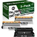 Henwi Compatible Toner Cartridges & Drum Unit Replacement for Brother DR720 DR-720 TN750 TN-750 Toners use with Brother DCP-8110DN HL-5450DN HL-6180DW MFC-8710DW Printer (1x Drum + 2X Toner, 3-Pack)
