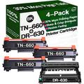 Henwi Compatible Toner Cartridges & Drum Unit Replacement for Brother DR630 DR-630 TN660 TN-660 Toners use with Brother HL-L2300D MFC-L2680W MFC-L2740DW Printer (1x Drum + 3X Toner, 4-Pack)