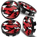 Biomar Labs 4 x 68mm Wheel Centre Alloy Hub Compatible with BMW Part Number: 36136783536 Center Caps Hubcaps Black Red Camouflage CB 26