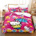 Viuseay Cute Hello Kitty Theme Bedding Set Girls Duvet Cover Queen 3PCS,Pink, Kids/Toddler Quilt Cover Set(1+ Duvet Cover, 2+ Pillow Case), Hidden Zipper and Corner Ties, No Comforter