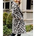 Donna Salyers' Fabulous-Faux Furs Women's Overcoats Grey - Gray Leopard Now Trending Faux Fur Sherpa Jacket - Women & Plus