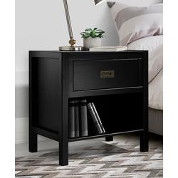 Walker Edison Nightstands Black - Black One-Drawer Wood Nightstand