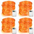 BrizLabs Orange Halloween Lights, 4 Pack 19.47ft 60 LED Orange Fairy Lights String, 2 Modes Battery Halloween String Lights, Indoor Silver Wire Twinkle Light for Halloween Themed Party Carnival Decor