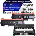Go4max Compatible Toner Cartridge & Drum Unit Replacement for Brother DR630 DR-630 TN660 TN-660 Drum use for Brother HL-L2300D MFC-L2680W MFC-L2740DW DCP-L2520DW Printer (1x Drum + 2X Toner, 3-Pack)