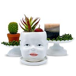 Head Planter Face Planters Pots - Ceramic Succulent Planters with Drainage & Saucer, Indoor/Outdoor Baby Bust Planter, Face Pots for Plants, Cactus, Flowers, Unique Planters Gifts, Cute Planters Pot