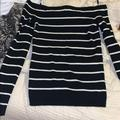 American Eagle Outfitters Sweaters   American Eagle Off The Shoulder Sweater   Color: Black/White   Size: S