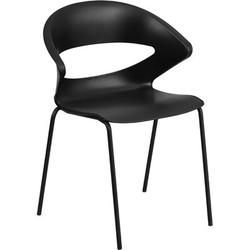 Flash Furniture Stackable Chair Plastic/Acrylic/Metal in Black, Size 21.0 H x 26.0 W x 32.0 D in | Wayfair FFSRUT-4-BK-GG