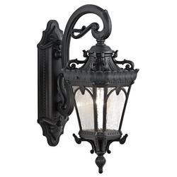 Kichler Tournai 1-Light Outdoor Wall Lantern Glass/Metal in Black, Size 18.0 H x 7.5 W x 11.25 D in   Wayfair 9356BKT