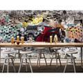 "GK Wall Design 3D Vintage Classic Car Graffiti Brick TEXTILE Wallpaper Fabric in Black/Gray/Red, Size 114""L x 204""W   Wayfair GKWP000086W204H114_3D"