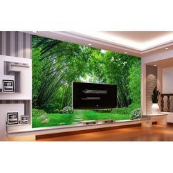 "GK Wall Design 3D Photo Jungle Landscape TEXTILE Wallpaper Fabric in Green, Size 114""L x 204""W   Wayfair GKWP000084W204H114_3D"