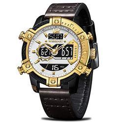 Mens Watches Chronograph Digital Watches Men Military Waterproof Sport Led Watch for Men Stopwatch Men's Wrist Watches Automatical Quartz Watch Men Calendar Alarm Casual Fashion Leather Watch