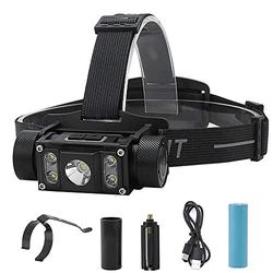 Rechargeable LED Headlamp Super Bright Headlight with Magnet 3200 High Lumens Head Light 5 Modes Handheld Flashlight Adjustable Waterproof Head Torch for Hiking, Camping