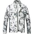 LZLER Jean Jacket for Men,Ripped Denim Jacket for Men with Holes(White-Black1818, Small)