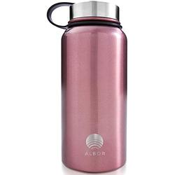 ALBOR Insulated Water Bottle with Straw - 32 Oz Water Bottle Stainless Steel Water Bottle with Straw - Metal Water Bottle with Straw Water Flask Water Bottle Insulated Water Bottle 32 Oz Rose Gold