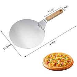 Pizza Peel 10 inch, Large Pizza Paddle Spatula Stainless Steel Cake Lifter with Rubber Wood handle, Cake Spatula Pizza Paddle Tray for Baking Homemade