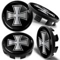 Biomar Labs 4 x 68mm Wheel Centre Alloy Hub Compatible with BMW Part Number: 36136783536 Center Caps Hubcaps Iron Cross Silver CB 32