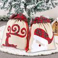 "xinblueCo Santa Sack 2 Pack Christmas Decorations Canvas Santa Bag with Drawstring Xmas Gift Bag Extra Large Christmas Sacks Size 27.5""x19.5"" (Burlap Stocking)"