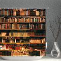 AMNYSF Library Shower Curtain Book Case with Books Bookshelf Bookworm Decor Fabric Bathroom Curtains,90x70 Inch Waterproof Polyester with Hooks