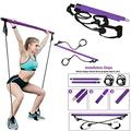 Pilates Bar with Resistance Band - Home Gym Exercise - Portable & Adjustable Yoga Toning Bar Kit with Foot Loops - Pilates Bar Attachment - Multi Functional Pilates Bar with Resistance Bands (Purple)