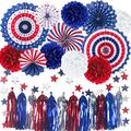 Cmaone 25Pcs Patriotic Party Decorations Set, 4th of July American Flag Party Supplies Hanging Paper Fans, Pom Poms, Red White Blue Star Garland, Tassel Garlands String, American Theme Party Decor