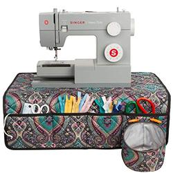 PACMAXI Sewing Machine Pad for Table with Pockets, Sewing Machine Pad Organizer, Pad Organizer for Sewing Machine Accessories, Sewing Machine Mat (Paisley Blue)